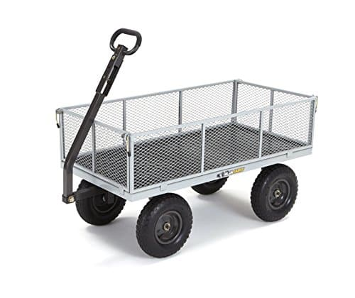 Gorilla Carts GOR1001-COM Heavy-Duty Steel Utility Cart with Removable Sides, 1000-lbs. Capacity, Gray Image