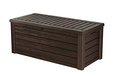 Keter Westwood Plastic Deck Storage Container Box Outdoor Patio Garden Furniture 150 Gal, Brown Image